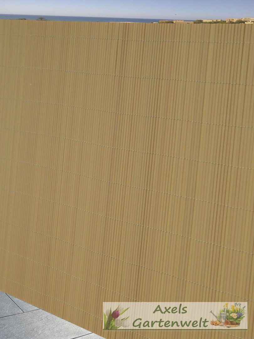 pvc balkonblende sichtschutz bambus-optik - axels gartenwelt